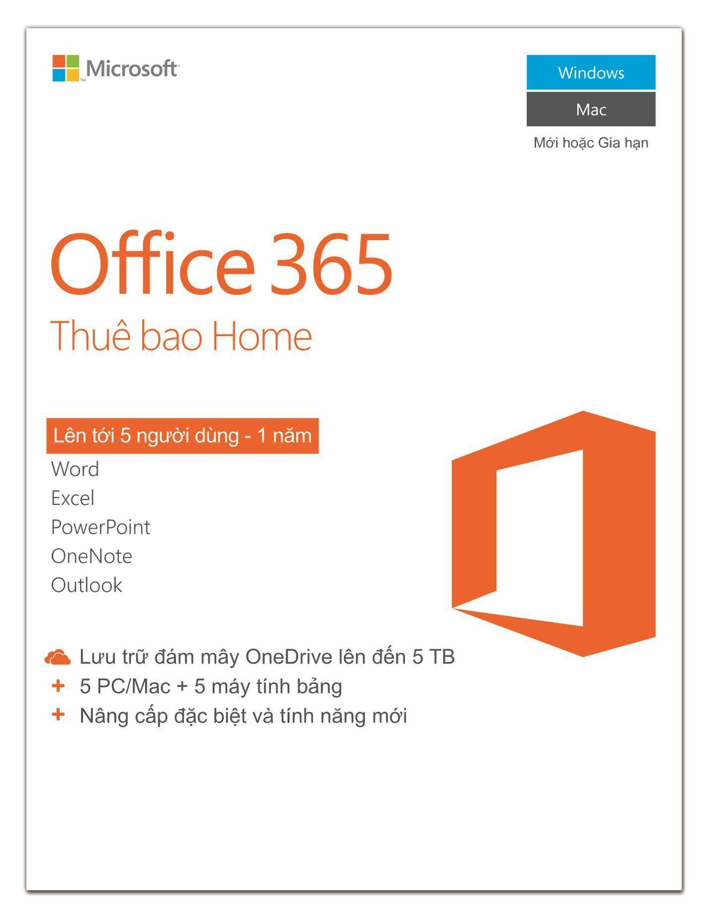 Hình ảnh Phần mềm Microsoft® Office 365 Home 5 người dùng/năm - Pupam phân phối chính hãng