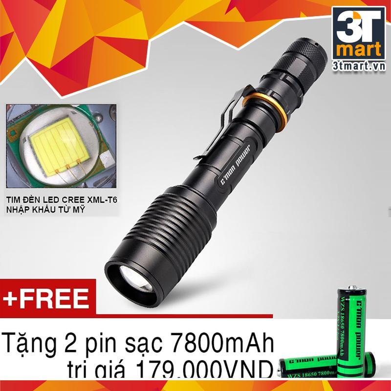 Đen Pin Sieu Sang C Mon Power Police Xml T6 Led 10W 2200Lm Chiếu Xa 500M Tặng 2 Pin Sạc Li Ion 18650 7800Mah Đen Oem Chiết Khấu 30