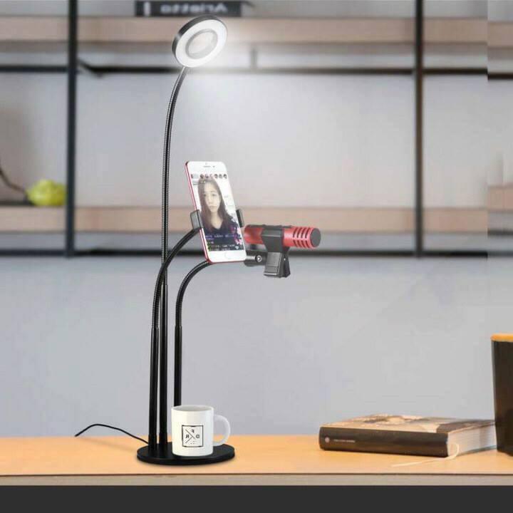 Hình ảnh Bộ livestream đa năng 3 trong 1 - Đèn LED, Giá đỡ điện thoại, Giá đỡ Micro