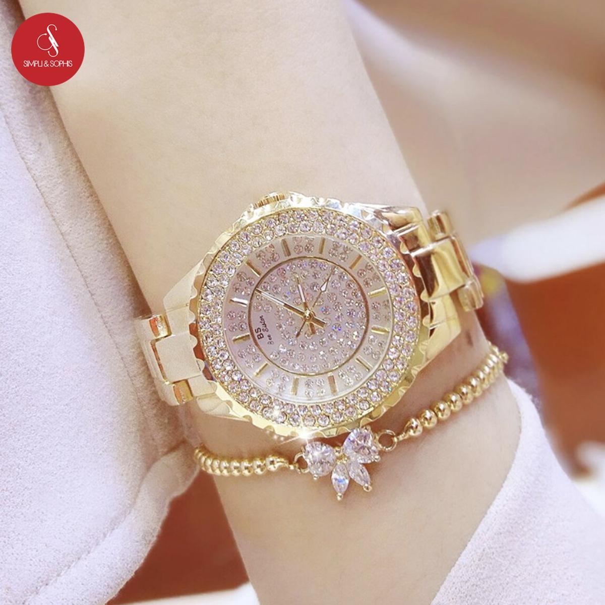 Hình ảnh Đồng hồ nữ Bee Sister 0280 cao cấp 32mm (Vàng) + Tặng hộp đựng đồng hồ thời trang & Pin