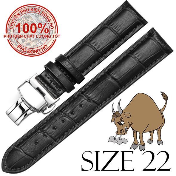 Dây đồng hồ da bò cao cấp SIZE 22mm (đen) kèm khóa bướm thép không gỉ 316L (bạc)