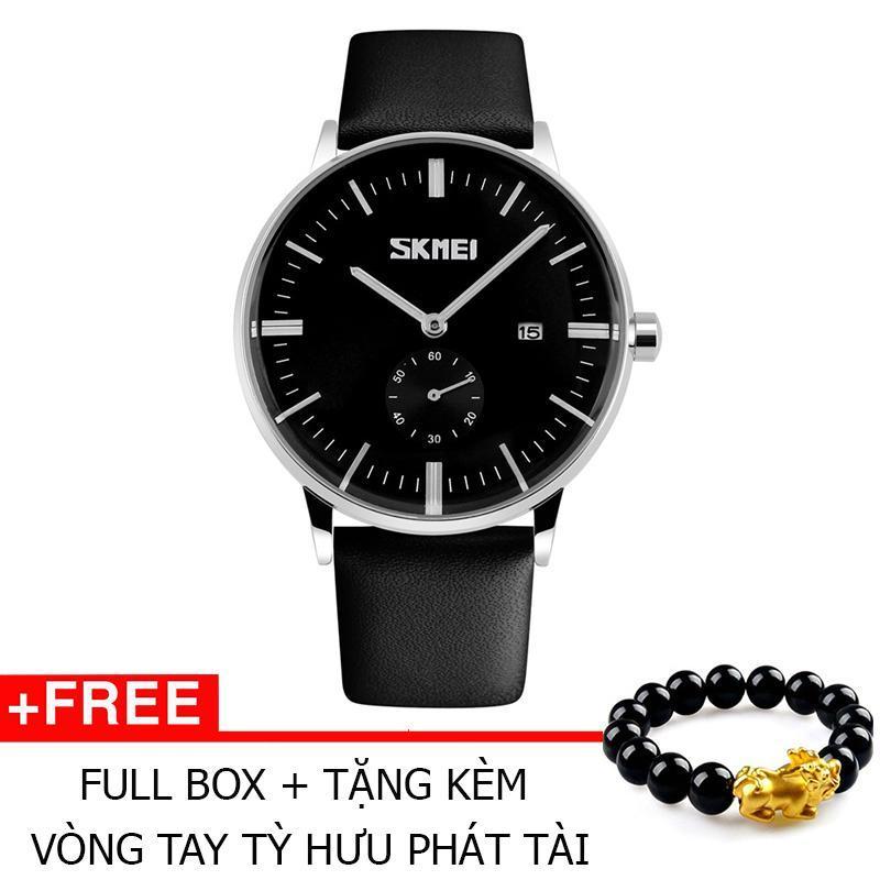 Đồng Hồ Thời Trang Skmei 9083 Dây Da 001 (Đen) + Tặng kèm vòng tay tỳ hưu phát tài