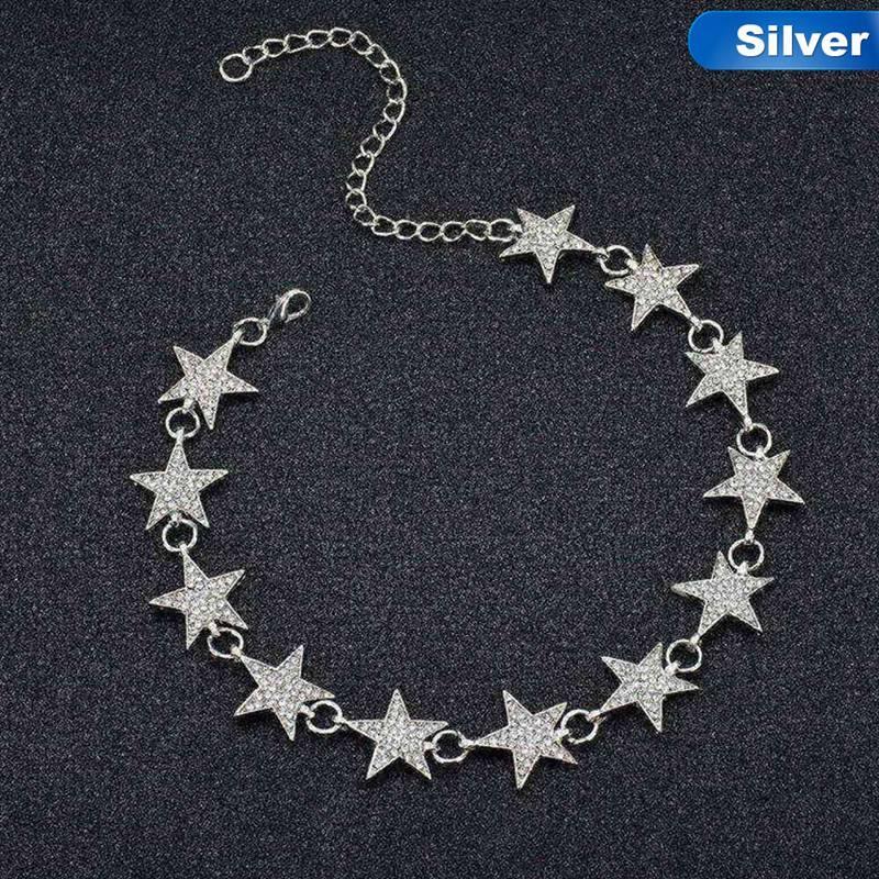 Fancyqube Mode Terkini Gold Warna Perak Kristal Bintang Link Rantai Kalung Kalung Trendi Mewah Rhinestones Kalung