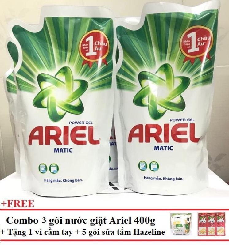 Combo 3 túi nước giặt Ariel 400g + Tặng 1 ví cầm tay xinh xắn + 5 gói Sữa tắm Hazeline nhập khẩu