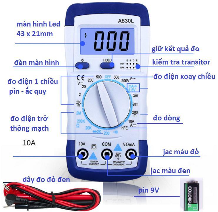 đồng hồ đo điện VOM màn hình điện tử có đèn - A830L