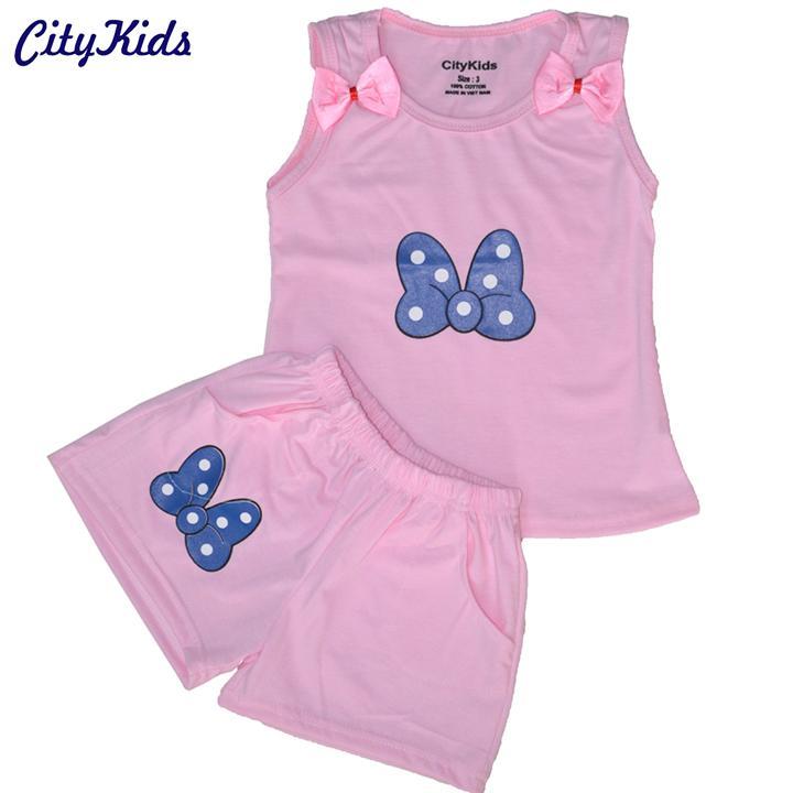 Quần áo trẻ em CITYKIDS in hình con bướm CTKS03 (Màu Hồng)