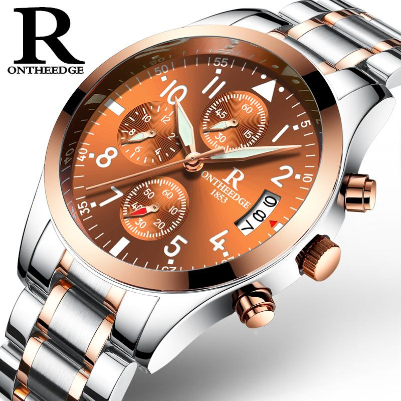Ruizhiyuan Watch Men Sports Quartz Non-Machinery Waterproof Fashion Belt Night Light Fine Steel Belt Mens Watch Wrist Watch Malaysia