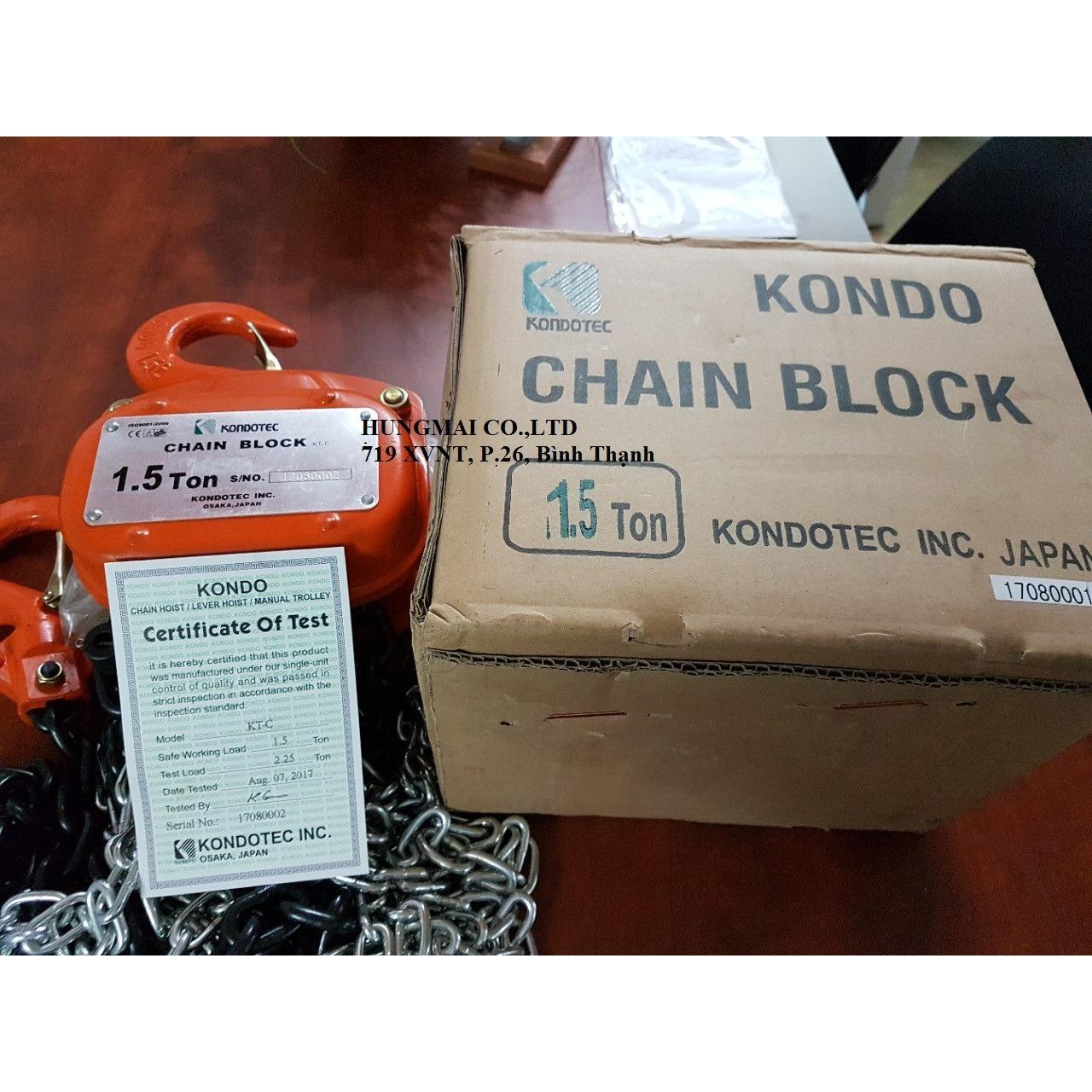 Palang xích kéo tay Kondotec KT-C 1Tx3m