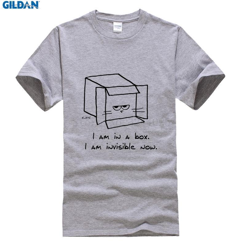 Gildan Kaos Ukuran Besar Kucing Pria T-shirt Desain Pakaian Kucing Marah Terlihat Di Kotak Lucu T Shirt Pria Katun-Intl