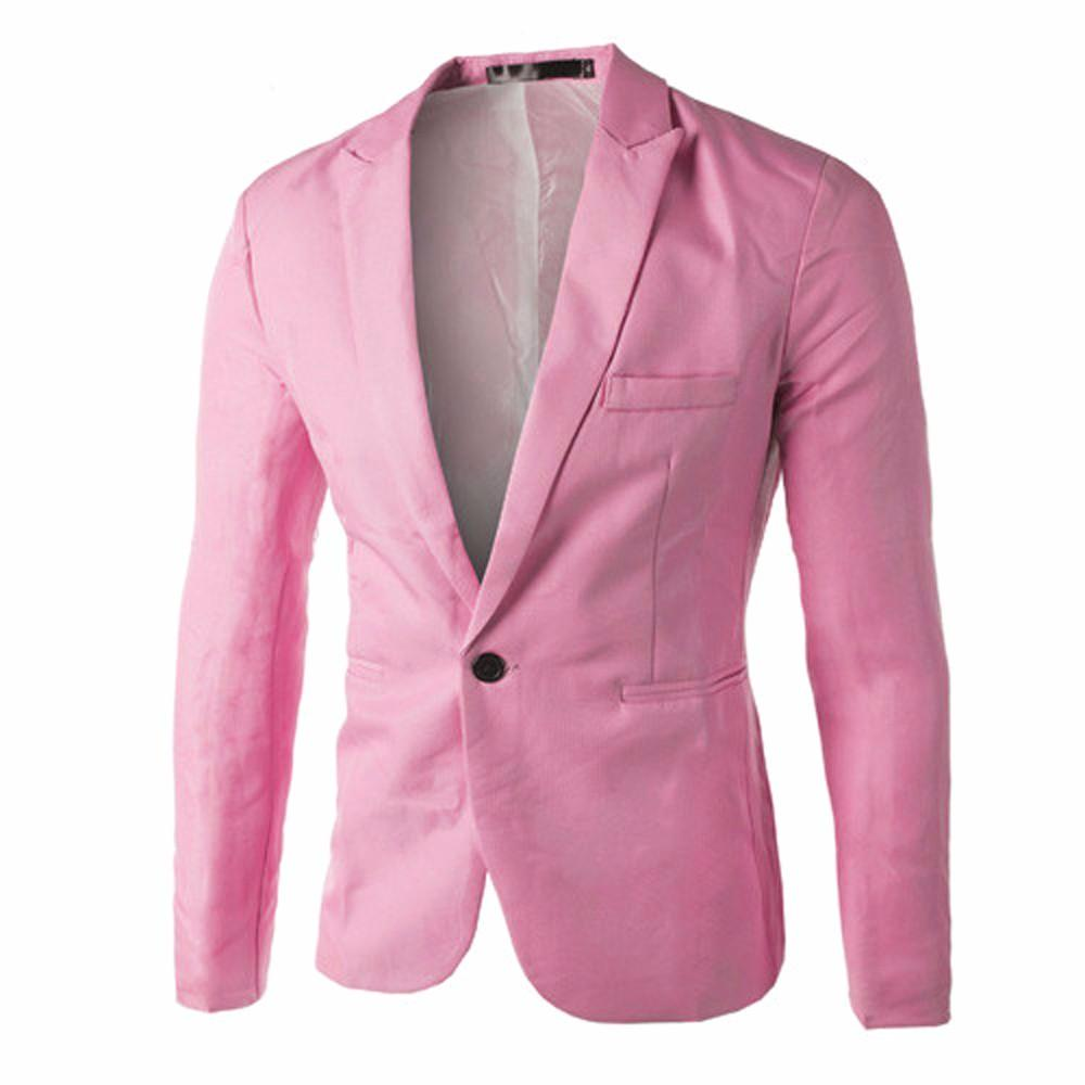 487e7f8e3d4 ViviMall Charm Men s Casual Slim Fit One Button Suit Blazer Coat Jacket  Tops Men Fashion