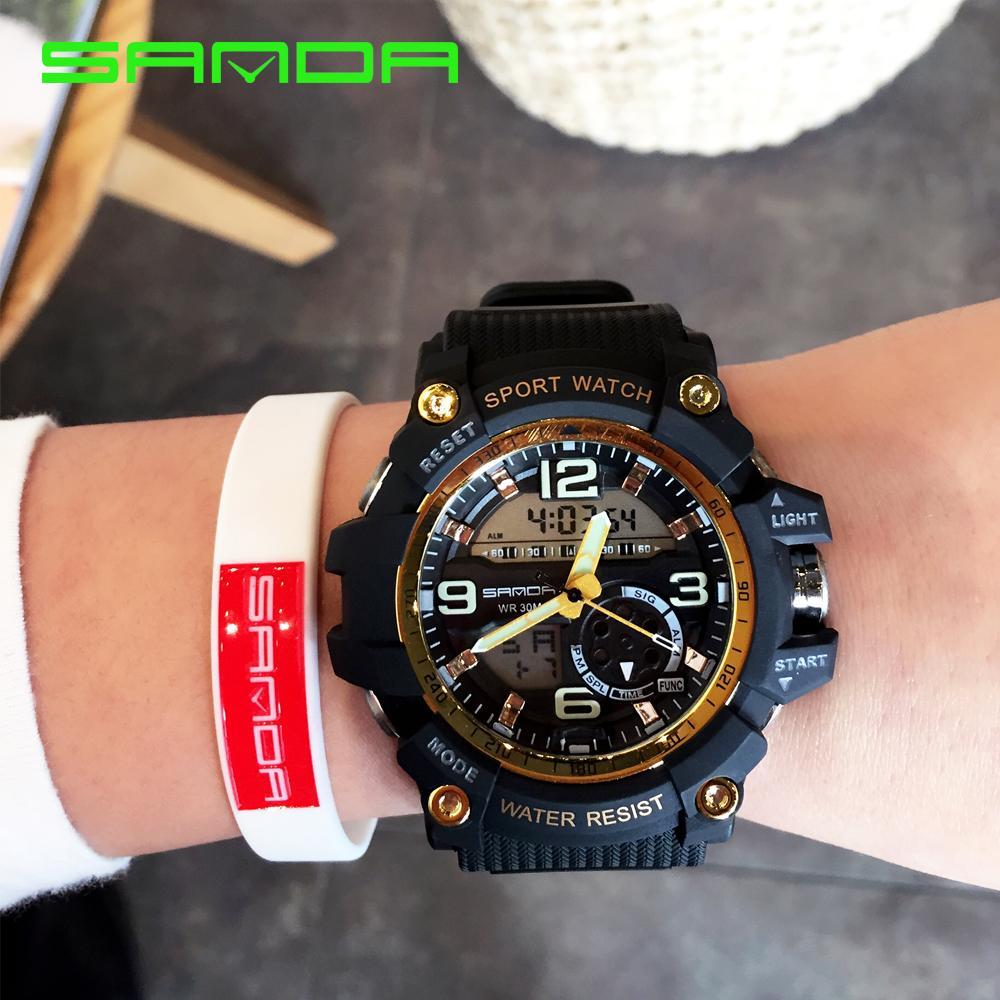 Sanda Luxury Brand Men Sport Digital Led Watch G Military Multifunction Shock Wristwatch 3atm Waterproof Relogio Special Offer 759