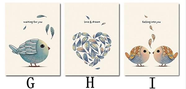 Bộ 3 tranh treo tường Chim hót 1