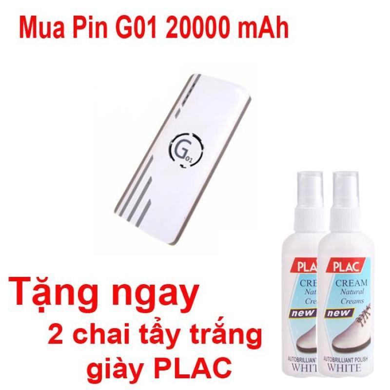 Bảng giá Pin sạc dự phòng G01 Litinum 20000MAH (Trắng) - hổ trợ sạc nhanh +Tặng ngay 2 chai tẩy trắng giày PLAC Phong Vũ