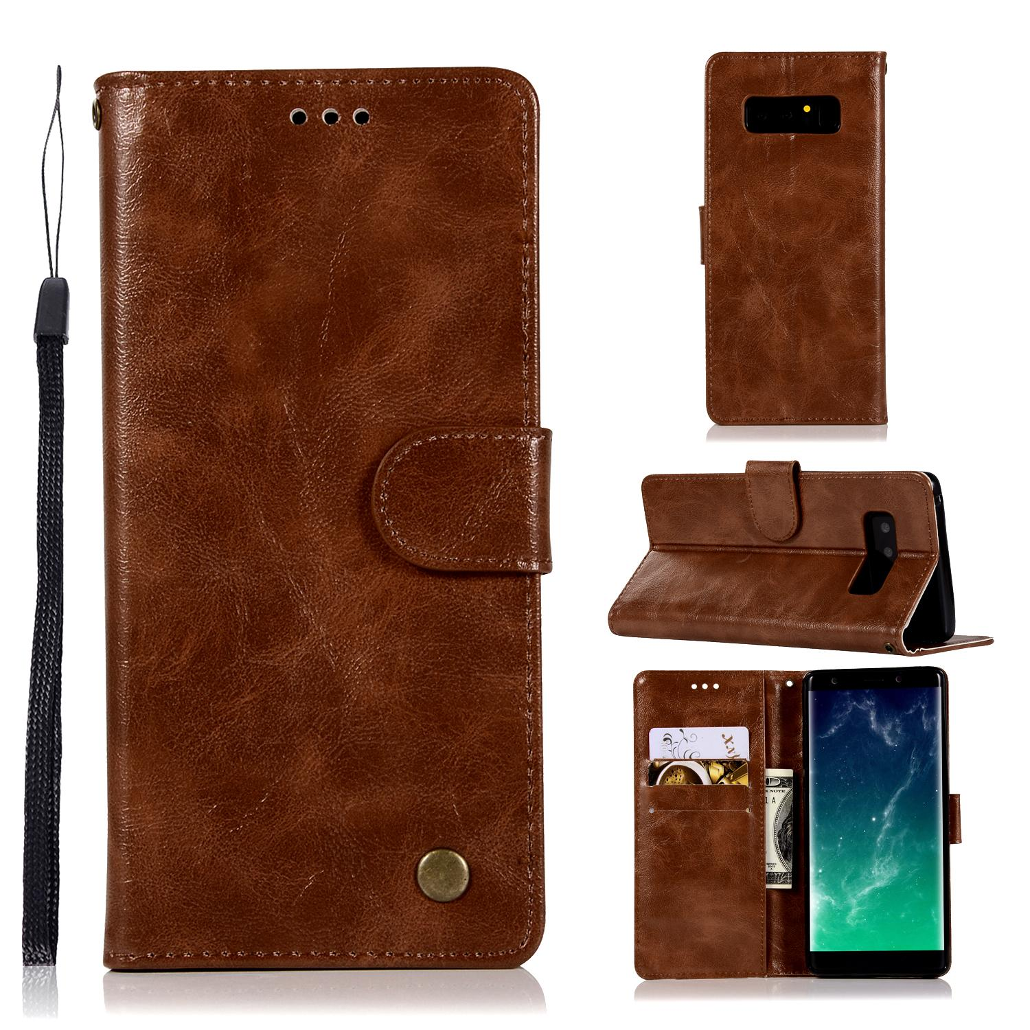 Casing For Samsung Galaxy Note 8,reto Leather Wallet Case Magnetic Double Card Holder Flip Cover By Life Goes On.