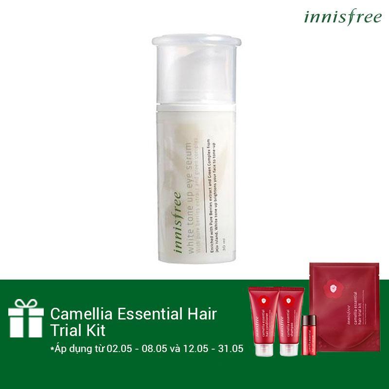 Giá Bán Tinh Chất Dưỡng Lam Sang Da Vung Mắt Từ Dau Innisfree White Tone Up Eye Serum 30Ml Tặng Camellia Essential Hair Trial Kit Số Lượng Co Hạn Rẻ