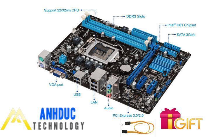 Hình ảnh Bo mạch Mainboard Asus H61 socket 1155