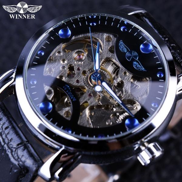 Hình ảnh Đồng hồ cơ nam Winner H005M lộ máy (M Dây da và dây kim loại)