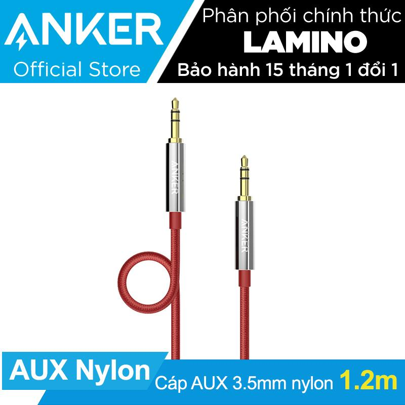 Hình ảnh Cáp audio cao cấp ANKER 3.5mm Nylon Braided Auxiliary Audio 1.2m (Đỏ) - Hãng phân phối chính thức
