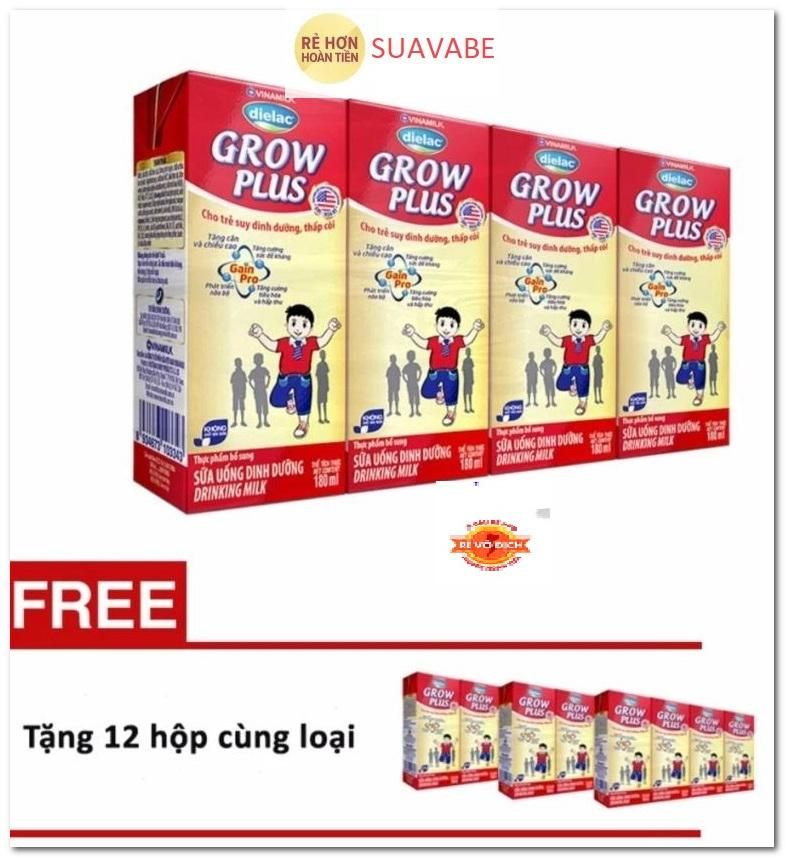 Mã Khuyến Mại Thung 48 Hộp Sữa Bột Pha Sẵn Vinamilk Dielac Grow Plus 180Ml Tặng 3 Lốc 12 Hộp Cung Loại