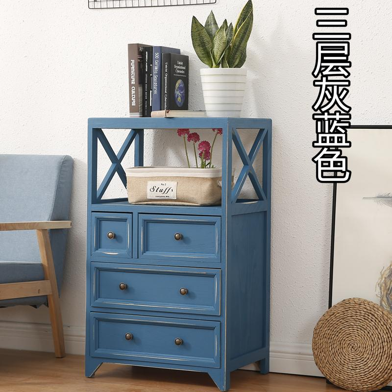 Solid Wood Mediterranean Five Chest of Drawers Drawer-type Thick 50 Cm Living Room Bedroom Storage Multilayer Wooden Cabinet Locker