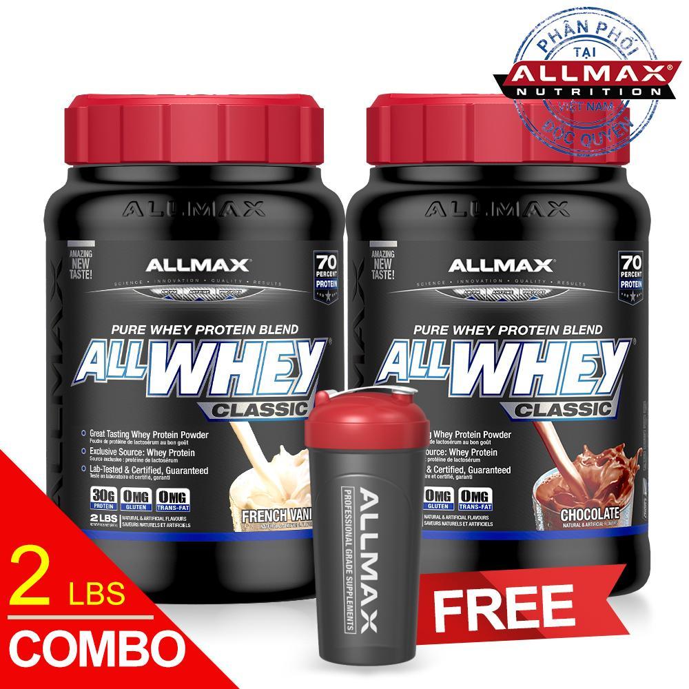 Hình ảnh Set thực phẩm bổ sung Whey protein cao cấp ALLMAX ALLWHEY CLASSIC CHOCOLATE & VANILLA