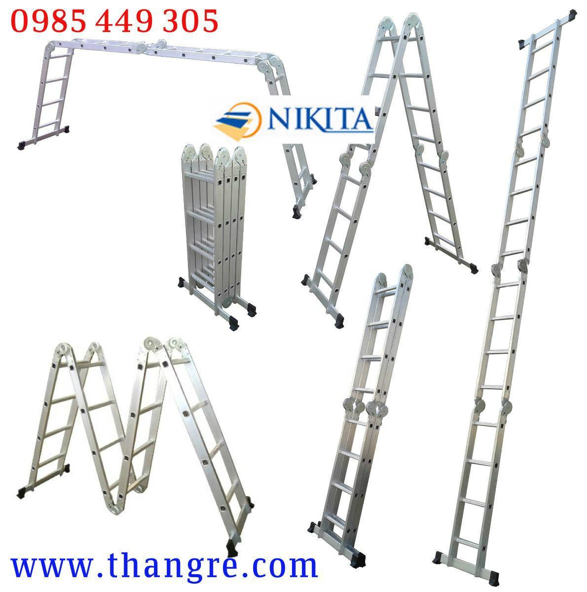 Thang nhôm gấp 4 đa năng Nikita cao 4,7m (G47)