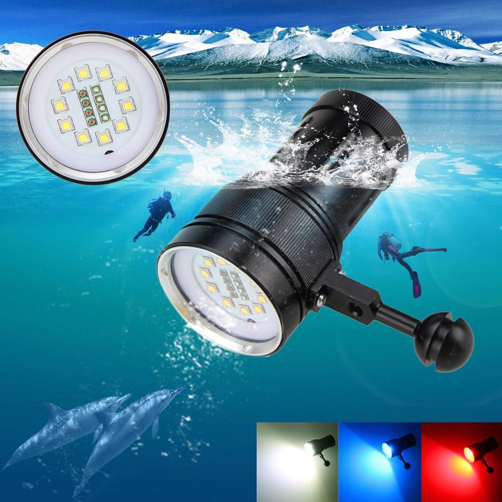 Malonestore 10x Xm-L2+4x R+4x B 12000lm Led Photography Video Scuba Diving Flashlight Torch By Malonestore.
