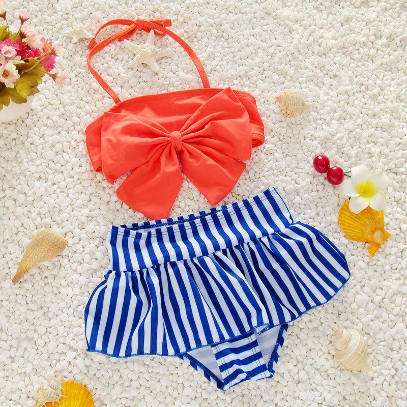 Hình ảnh Đồ bơi trẻ em từ 5-6 tuổi áo nơ váy kẻ sọc Decoshop68 màu cam