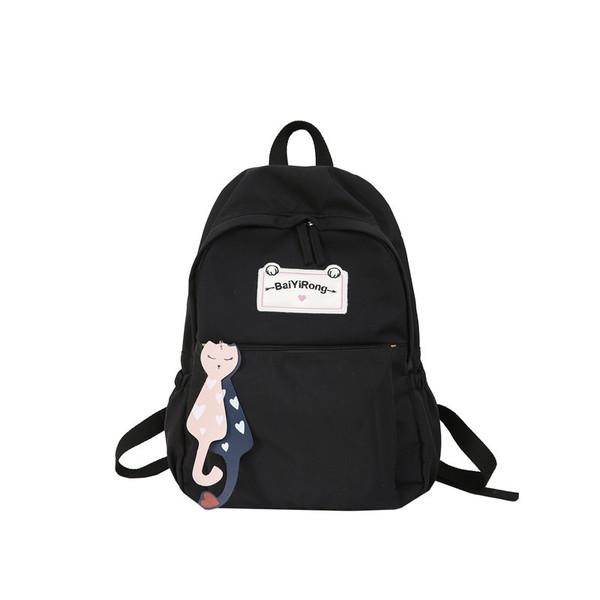 New tide female cat shoulder bag canvas college wind bag college students simple double shoulder bag