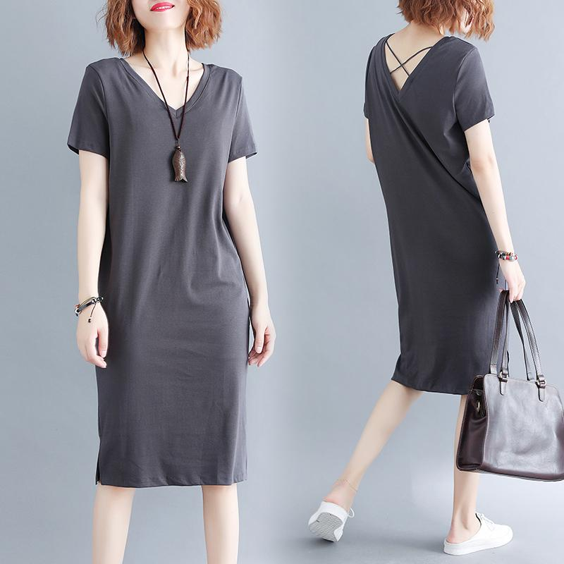 f7cf0ce936 Large Size Dress 200 of Fat Mm Summer Wear Korean Style Loose-Fit V-