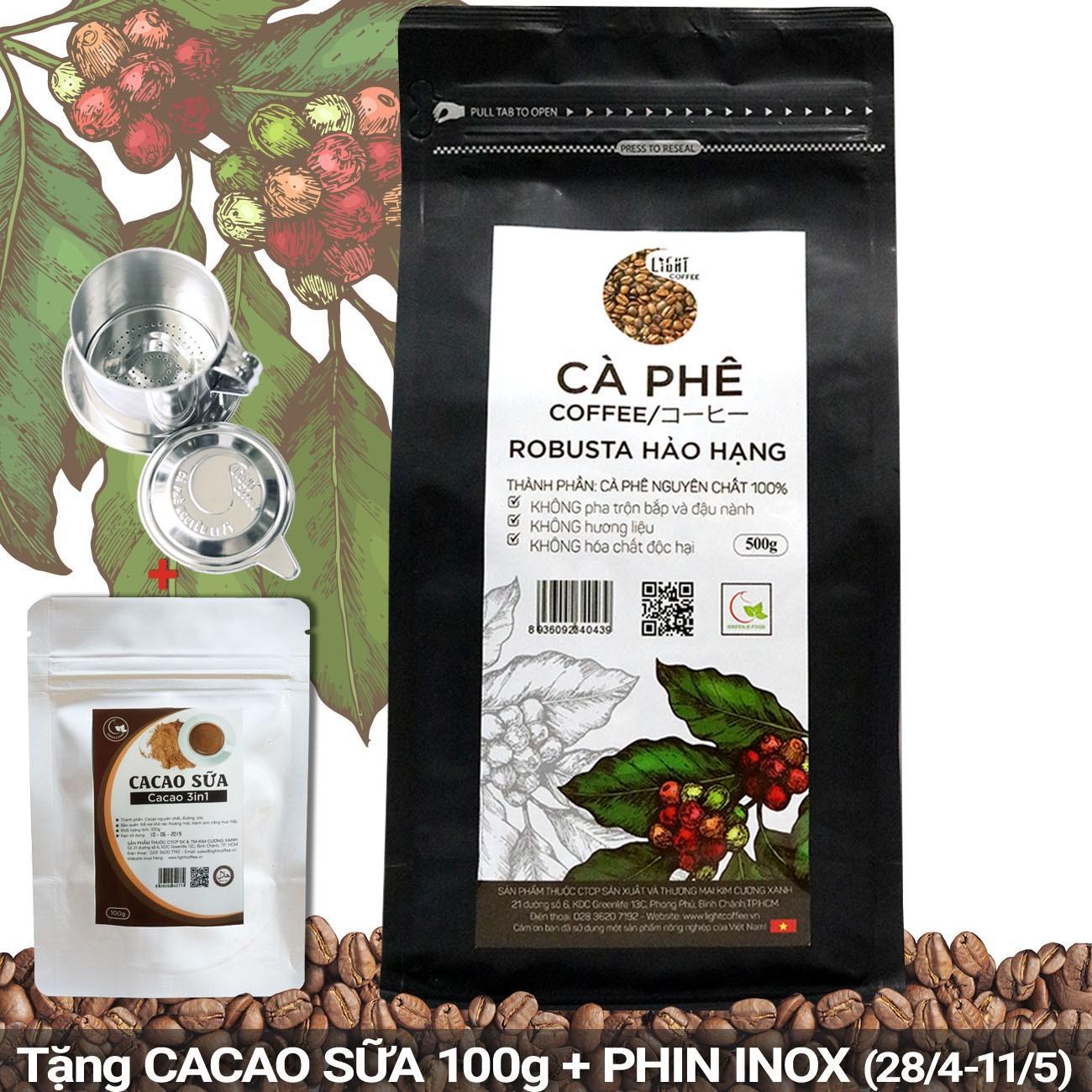 Bán Ca Phe Hạt Nguyen Chất 100 Robusta Hảo Hạng Light Coffee Goi 500G