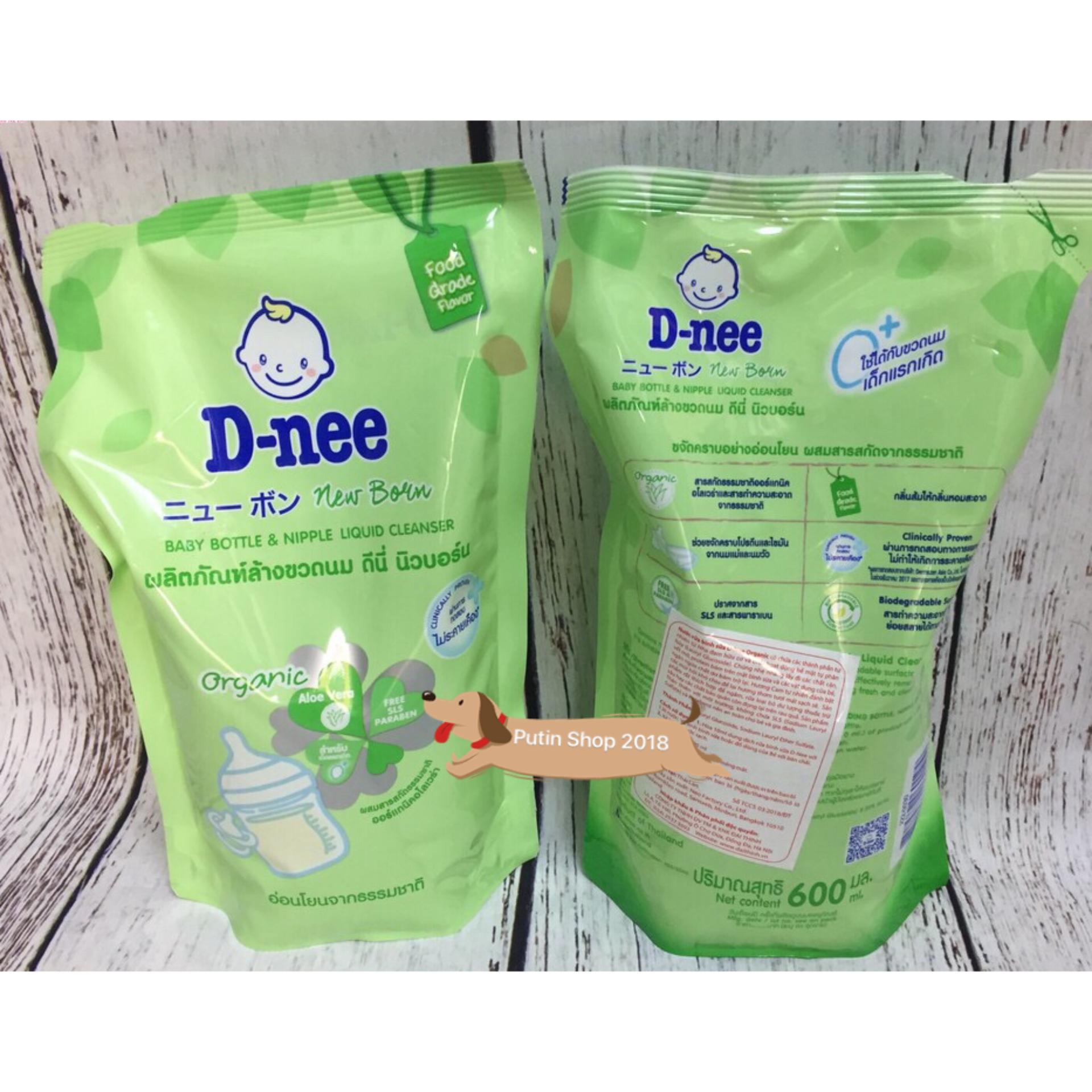 Nước rửa bình sữa và rau củ quả Dnee túi (600ml) Thái Lan (Hàng công ty chính hãng)