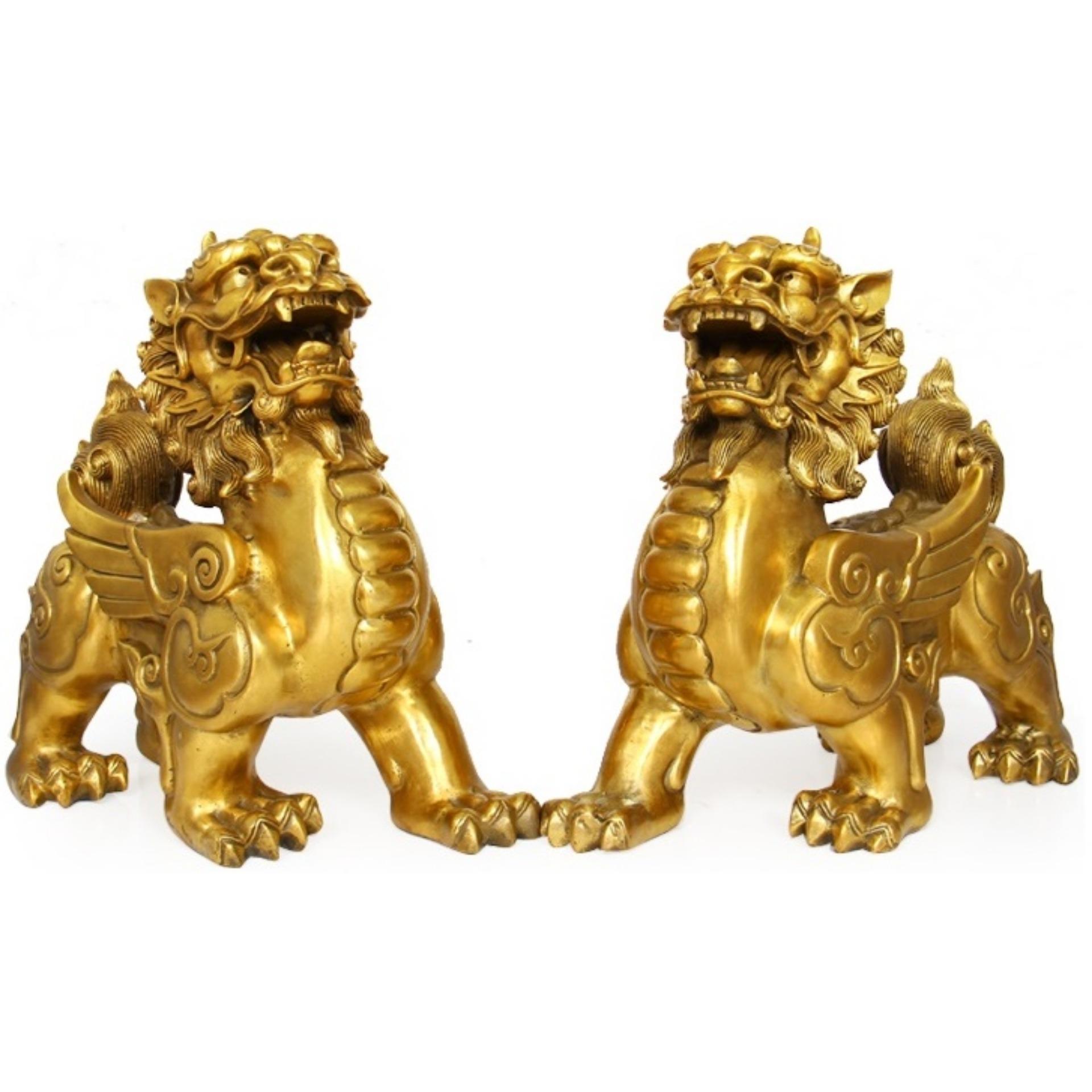 Hình ảnh Tượng Đôi Tỳ hưu bằng đồng nặng 1800g, kích thước mỗi con 14cmx15cm - Linh vật phong thuỷ hút tài lộc và hóa giải sát khí