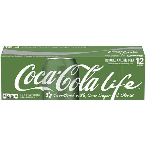 Hình ảnh Coca Life Mỹ Xanh Lá Thùng 12 Lon 355ml