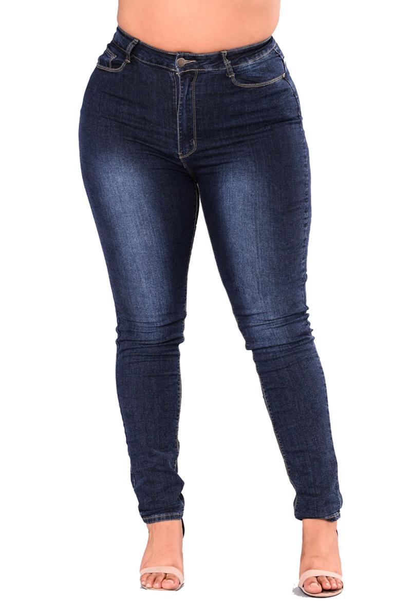 Plus Size Pencil Jeans Slim Jeans. Women Denim Pants Blue By Taobao Collection.