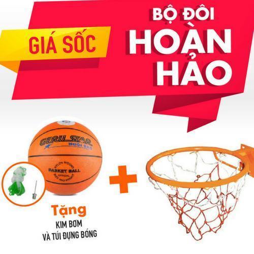 Hình ảnh Combo bộ sản phẩm Vành bóng rổ 40cm + quả bóng rổ số 5 (Cam)