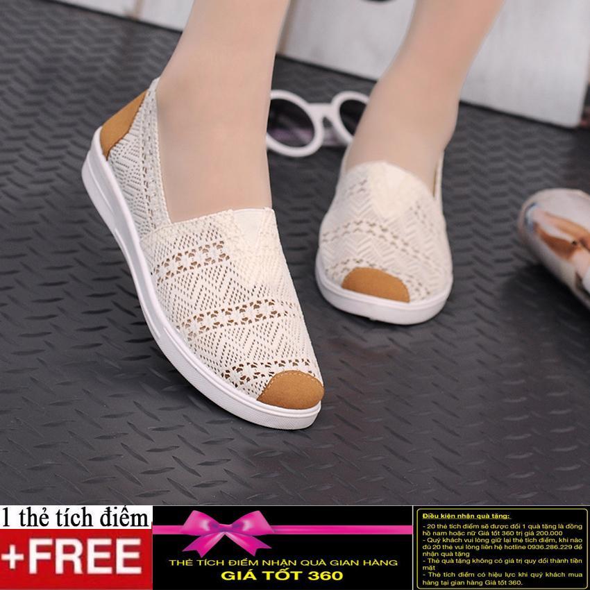 Giày Slip on vải ren cao cấp thoáng mát GTTG23+ Tặng kèm thẻ tích điểm Giá tốt 360