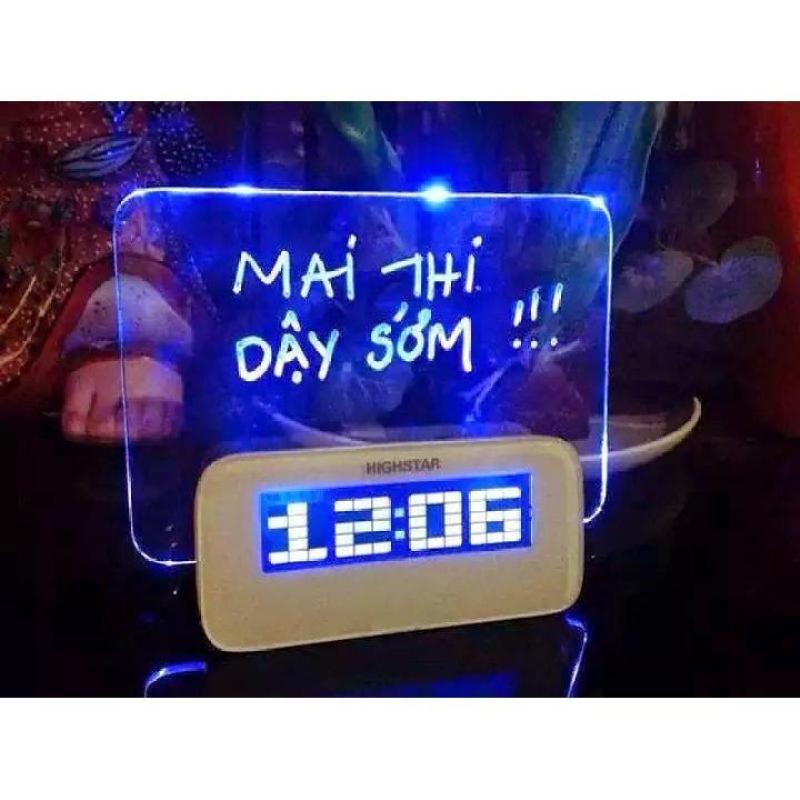 Đồng hồ báo thức HIGHSTAR bảng ghi nhớ phát sáng giá tốt ( Trắng ) bán chạy