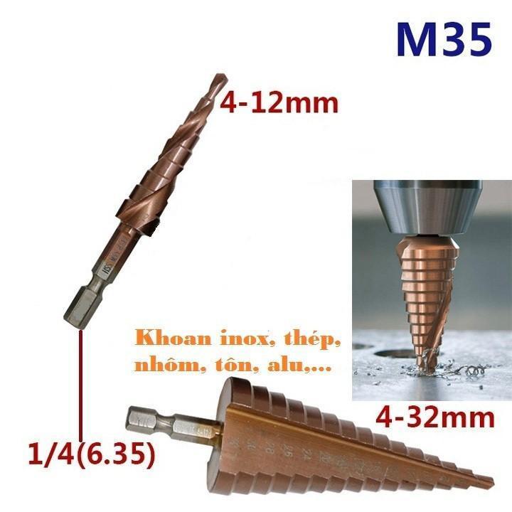 Bộ 2 mũi khoan tháp từ 4-32 mm hss coban m35 khoan inox, thép, sắt, nhôm, tôn,..
