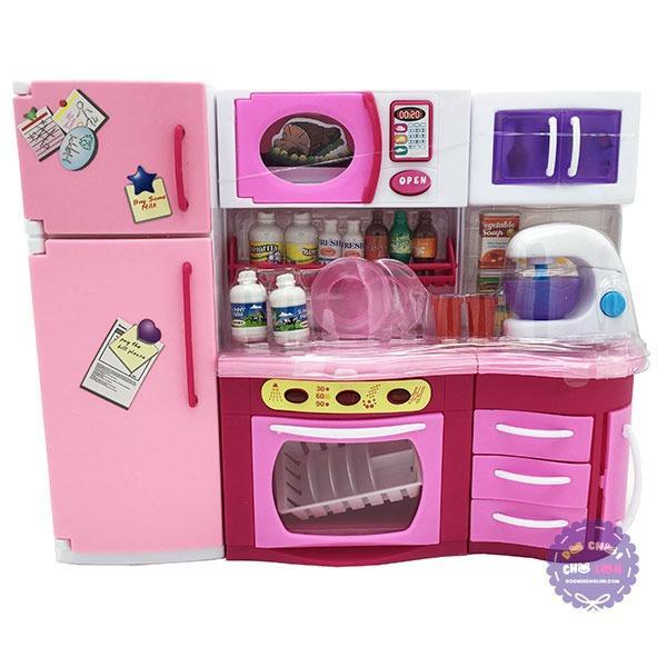 Hình ảnh Hộp đồ chơi nhà bếp: lò nướng, tủ bếp, tủ lạnh máy đánh trứng dùng pin