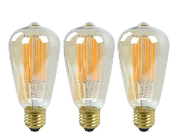 3 Bóng Đèn Led Edison Vintage T64 4W E27 220V - Ánh sáng vàng