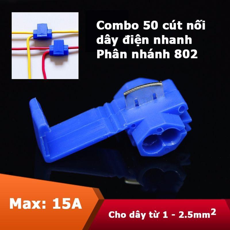 Hình ảnh Combo 50 cút nối dây điện nhanh kẹp phân nhánh loại vừa 802 (Màu xanh)