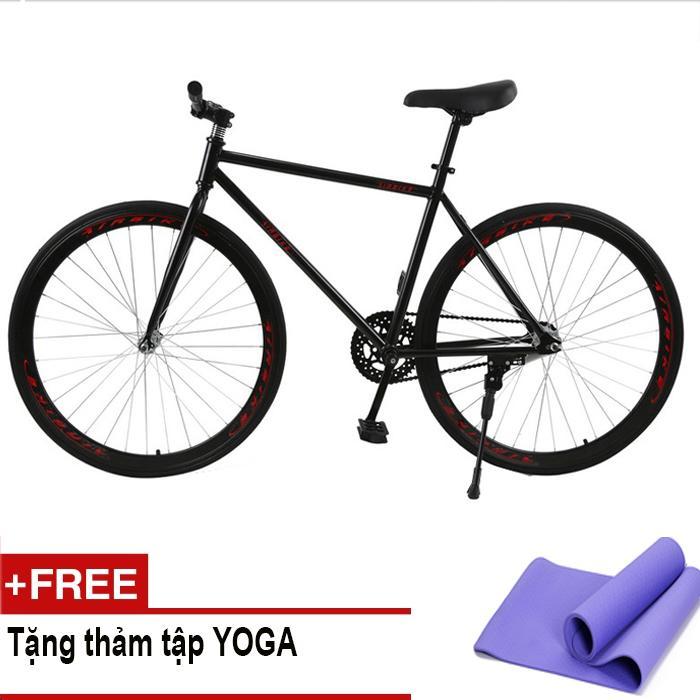 Xe đạp Fixed Gear Air Bike MK78 (đen) + Tặng thảm tập Yoga