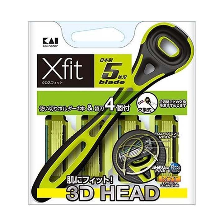 Dao Cạo Râu 5 Lưỡi Kép Kai Razor Nhật Bản Xfit XF5-4BN06 (1 Thân, 4 Lưỡi Thay Thế)