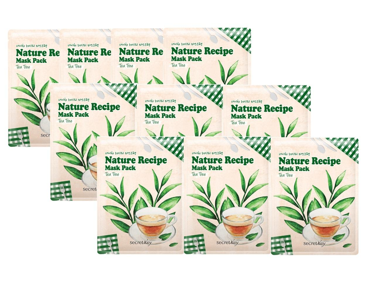 Giá Bán Bộ 10 Goi Mặt Nạ Dưỡng Da Trị Mụn Danh Cho Da Nhạy Cảm Chiết Xuất Tram Tra Secret Key Nature Recipe Mask Pack Tea Tree 10Pcs Nhãn Hiệu Secret Key