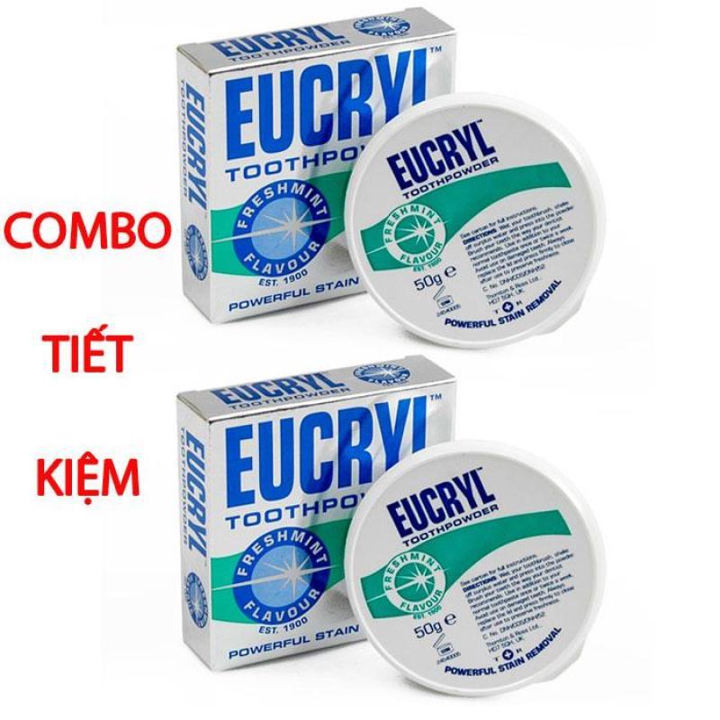 Bộ 2 hộp Bột tẩy trắng răng Eucryl 50g từ Anh Quốc nhập khẩu