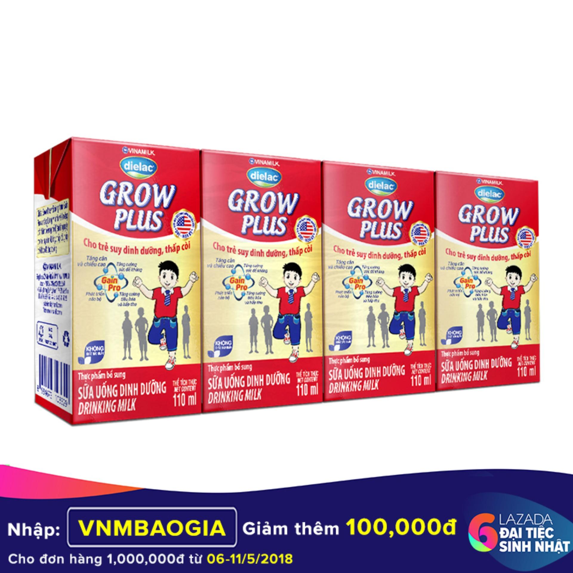 Bán Thung 48 Hộp Sữa Bột Pha Sẵn Vinamilk Dielac Grow Plus 110Ml Vinamilk Nguyên
