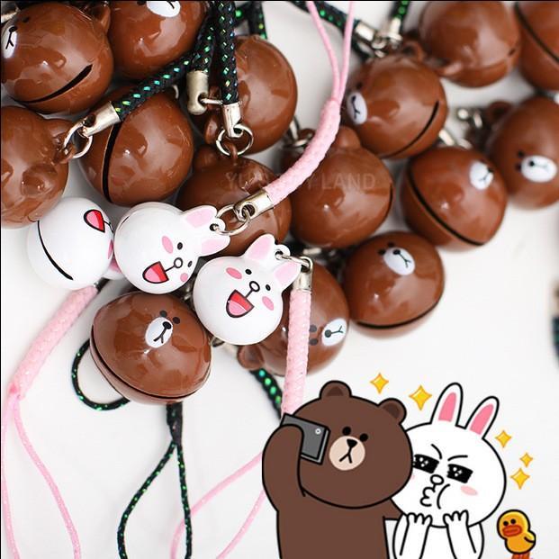 Hình ảnh Combo Móc điện thoại thỏ cony và gấu brown - K8546