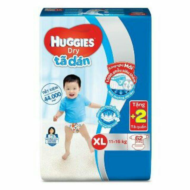Tã dán Huggies XL62 (11-17kg) + tặng thêm 2 miếng tã quần