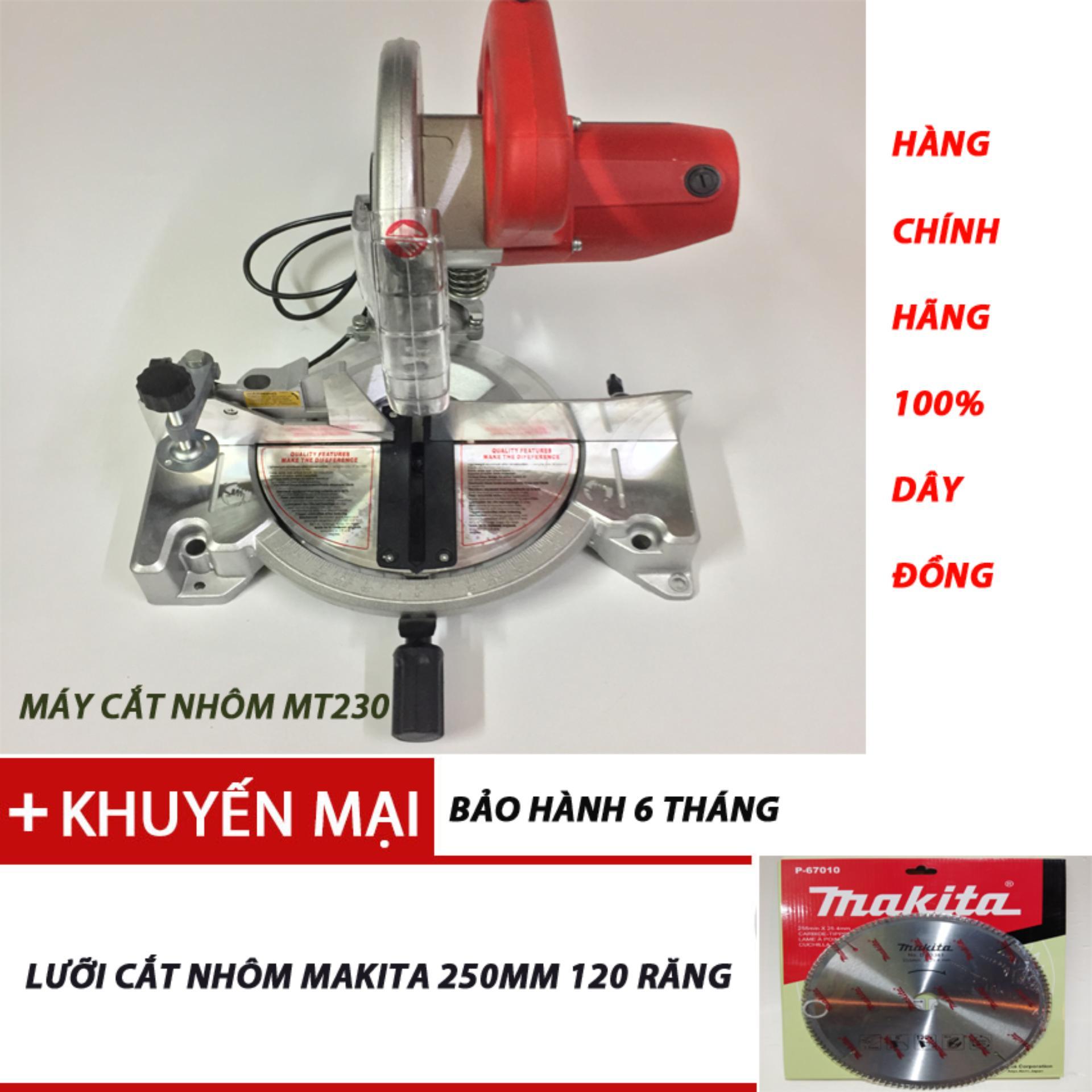 Máy cắt nhôm MT230, tặng lữoi cắt nhôm makita 250mm,120 răng.